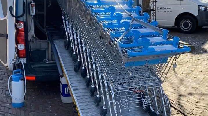 winkelwagens wassen albert heijn corona